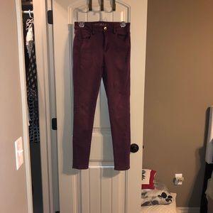Maroon American Eagle Skinny Jeans